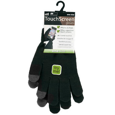 Stretch Black Touch Screen Phone Pads One Size Adult Men's Women's Winter Gloves With Dark Grey Tips