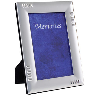 SLIGHT SECONDS - Two Tone Silver Plated Photo Picture Frame - Straight Dashed Line
