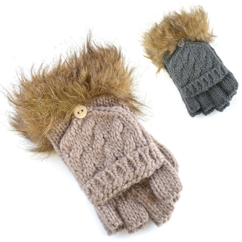 Knitting Pattern For Fold Over Mittens : Ladies Chunky Knit Fold Back Capped Fingerless Gloves To ...