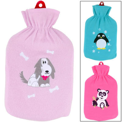 Hot Water Bottle And Smooth Fleece Cover With Cute Embroidered Animal Penguin Panda Dog Aqua Pink Lilac