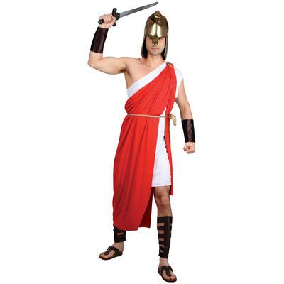 Spartan Warrior Roman Greek Mens Fancy Dress Costume Red XL