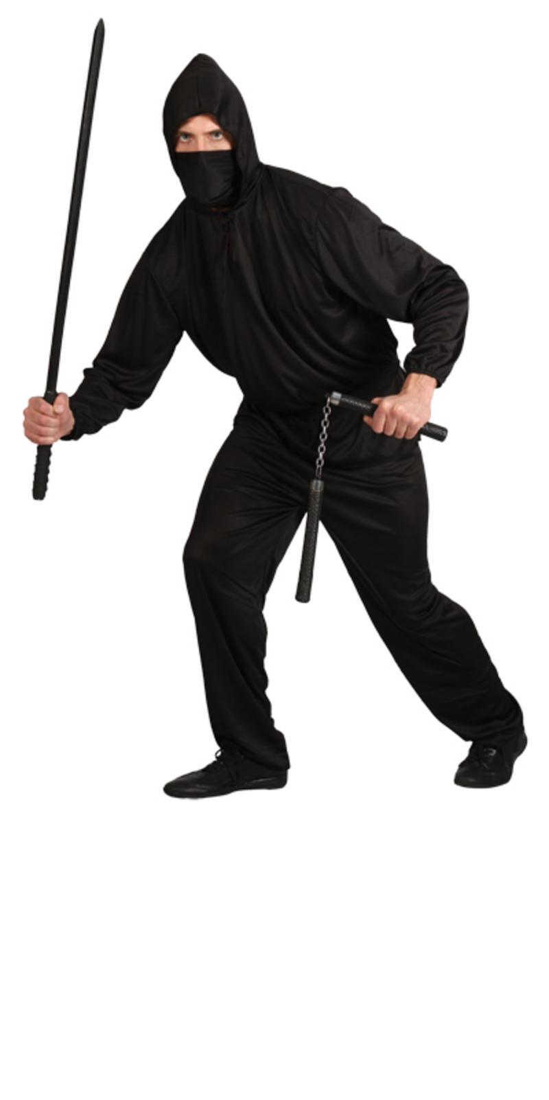 Mens Japanese Dark Ninja Historical Assassin Fancy Dress Shinobi Costume Black XLARGE