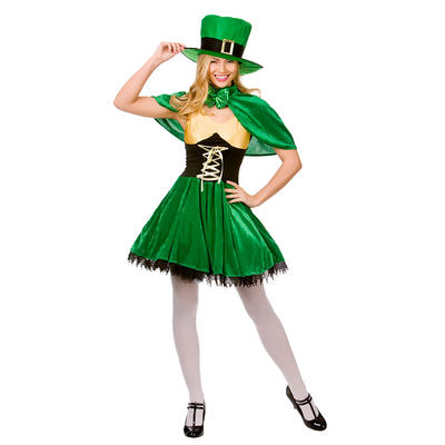 Ladies Lucky Leprechaun XS Teen Size Fancy Dress Halloween Costume Green UK6-8