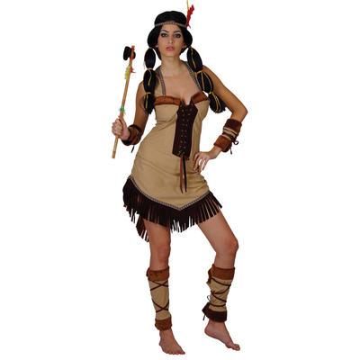 Ladies Indian Princess XS Teen Size Fancy Dress Halloween Costume Brown UK6-8