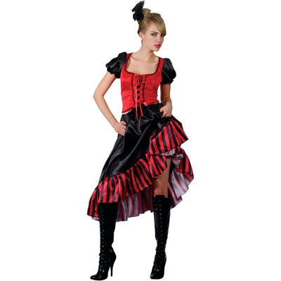 Ladies Can Can Saloon Girl XS Teen Size Fancy Dress Halloween Costume Red and Black UK6-8