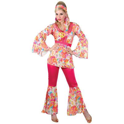 Ladies Pink Hippie Honey XS Teen Size Fancy Dress Halloween Costume UK6-8