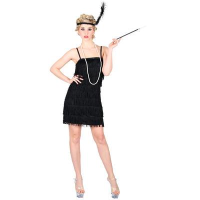Ladies Showtime Flapper Girl - Black XS Teen Size Fancy Dress Halloween Costume UK6-8