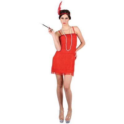 Ladies Showtime Flapper Girl - Red XS Teen Size Fancy Dress Halloween Costume UK6-8