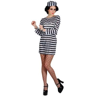 Ladies Jailbird Cutie - Budget XS Teen Size Fancy Dress Halloween Costume UK6-8