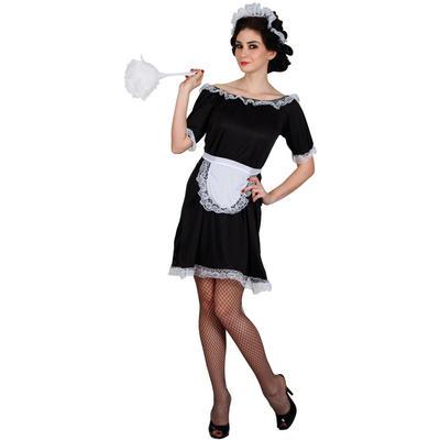 Ladies Classic French Maid - Budget XS Teen Size Fancy Dress Halloween Costume Black UK6-8