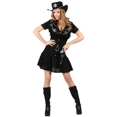 Ladies Gunslingin' Cowgirl XS Teen Size Fancy Dress Halloween Costume Black UK6-8