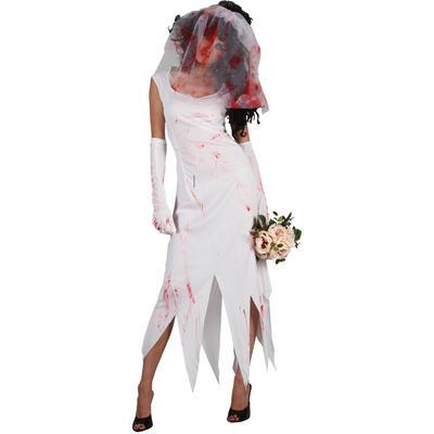 Teen Size Zombie Bride Teen Size Fancy Dress Halloween Costume White XS