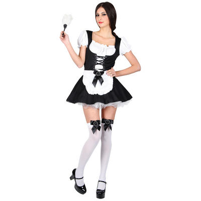 Teen Size New French Maid Teen Size Role Play Fancy Dress Costume Black and White XS