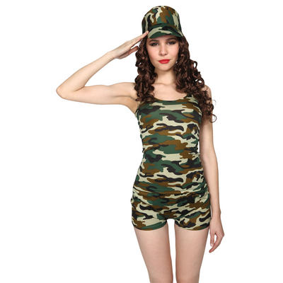 Teen Size Military Themed 3pc Sexy Army Green Camo Set Fancy Dress Halloween Party Costume XS