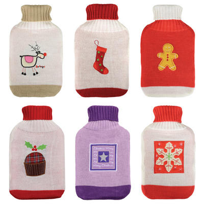 Thermotherapy Large Water Bottle & Knitted Christmas Design Cover