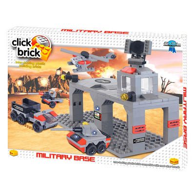 Click Brick Military Base Build & Play Set With Tank Truck Field Gun & Helicopter Age 5+