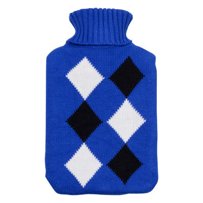 Blue With Black & White Diamond Large Water Bottle With Knitted Cover