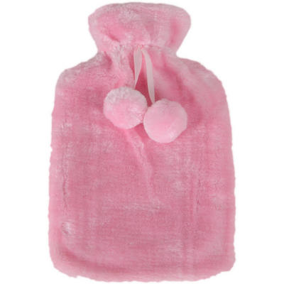 Hot Water Bottle With Removable Baby Pink Faux Fur Cover With Pom Poms