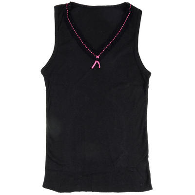 Ladies' Black Thermal Sleeveless Vest Top With Pretty Lace & Pink Ribbon Trim Winter Underwear