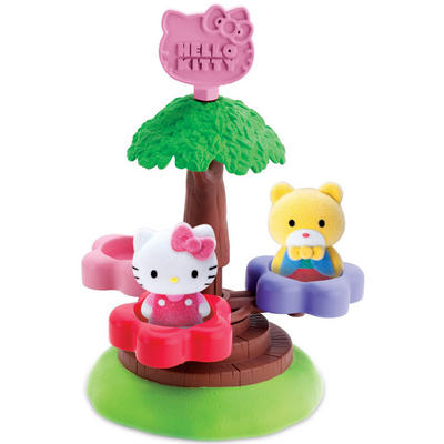 Hello Kitty Tree Merry Go Round Play Set 2 Flocked Figures Tippy Turn Up & Down