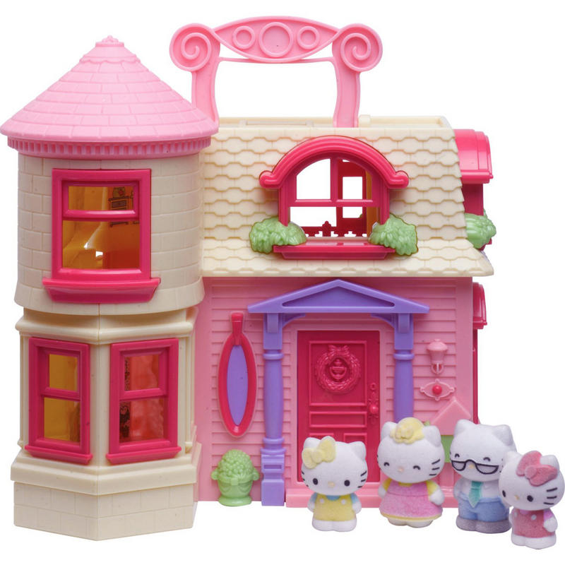 Hello Kitty Happy Home Play Set Fold Out Doll House With 4