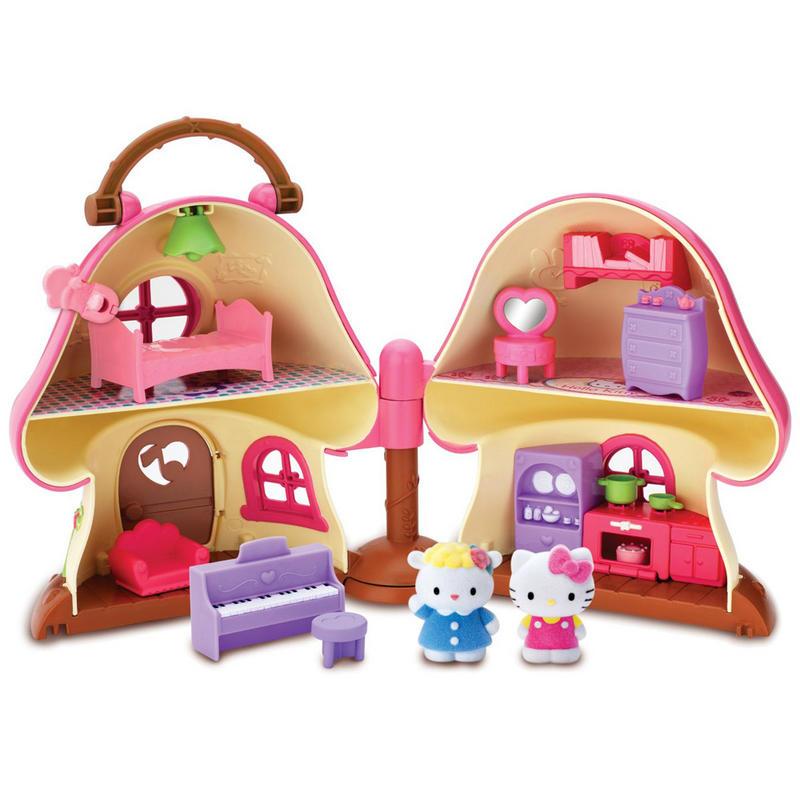Hello Kitty Mushroom House Play Set Fold Out Mini Dolls
