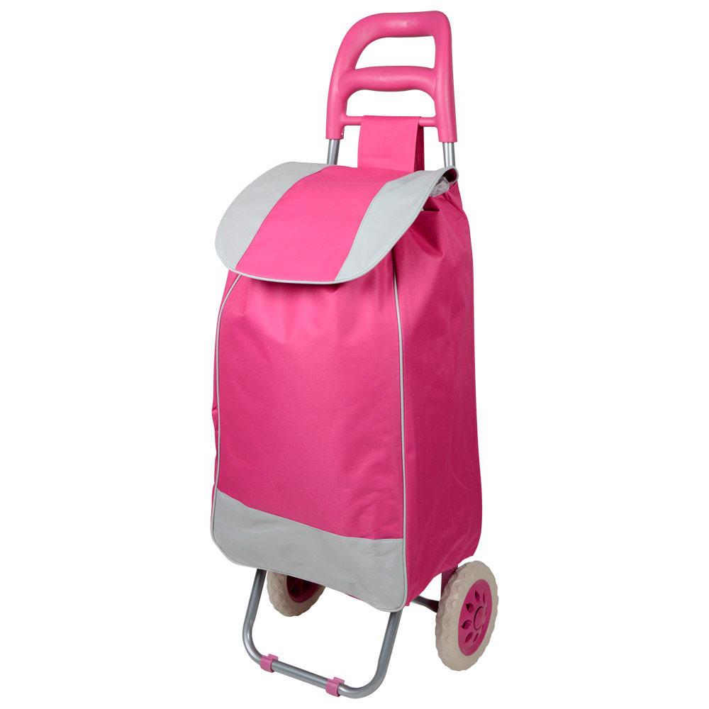 Hot Pink Grey Folding Wheeled Festival Shopping Trolley Bag