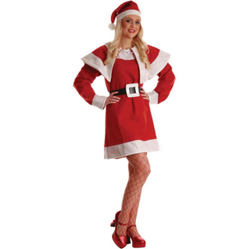 Miss santa claus christmas crimbo ladies fancy dress costume outfit