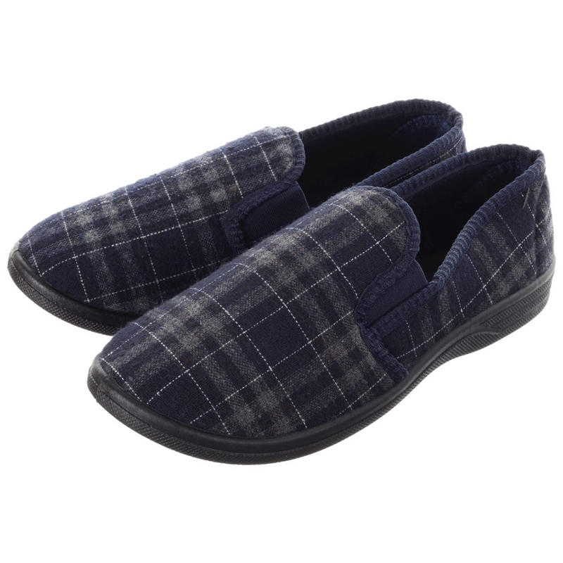 Mens Comfy Check Design Full Slippers With Gussets u0026 Non-Slip Sole