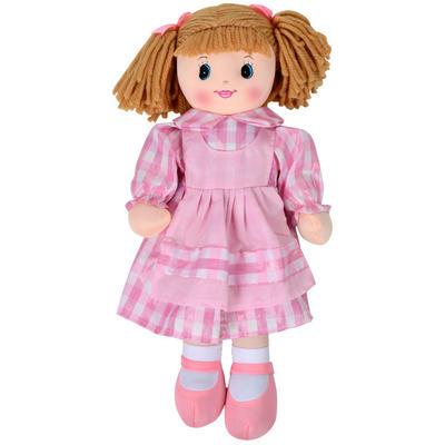 50cm Soft Body Ragdoll Toy - Pink & White Check Dress / Brown Yarn Hair