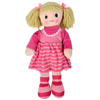 50cm Soft Body Ragdoll Toy - Pink Striped Dress / Blonde Yarn Hair