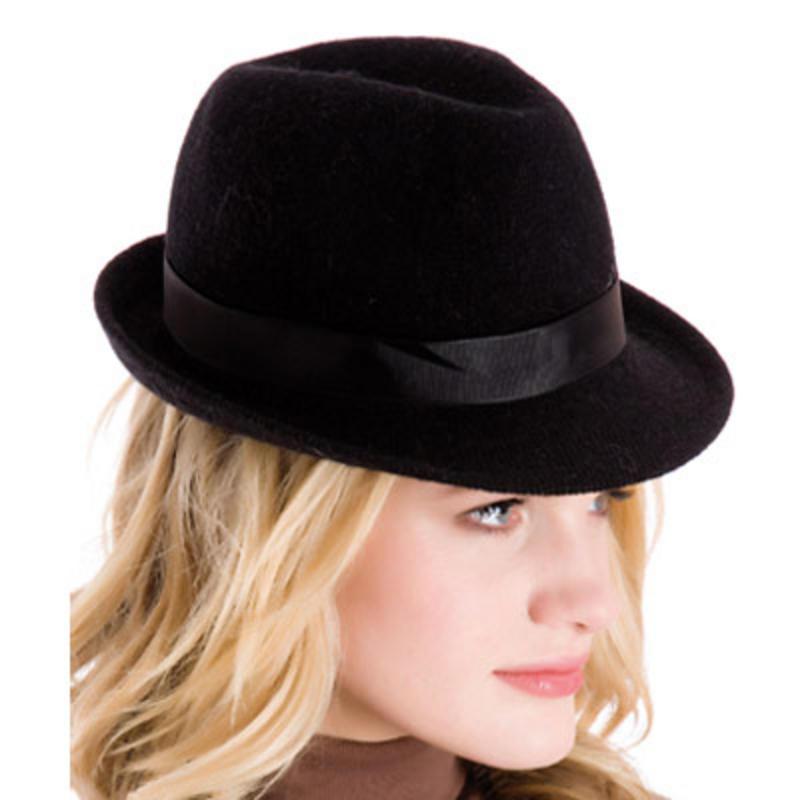 100 wool fedora trilby fashion hat with fabric