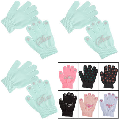 3 Pairs Of Girls Magic Gloves With Glitter Print