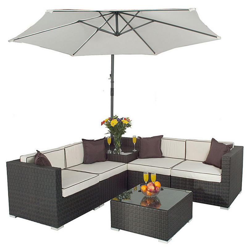 Corner Sofa Set With Parasol Rattan Wicker Garden Furniture Preview