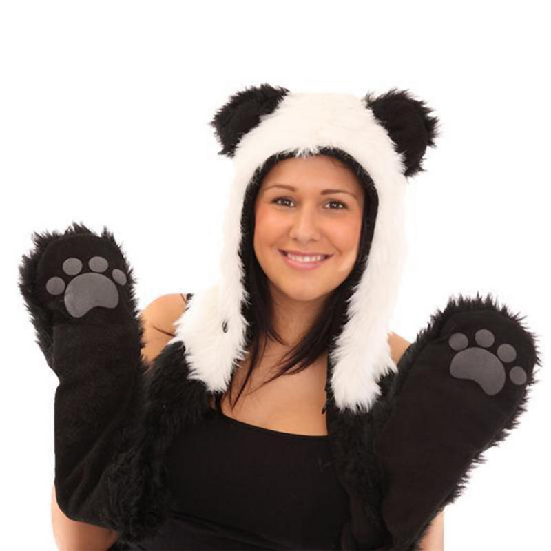 Ladies Faux Fur Black and White Panda Snood Hood Hat Scarf Gloves In One Preview