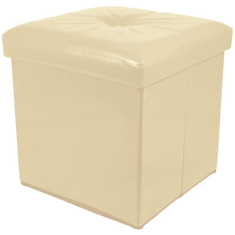 folding storage pouffe stool seat ottoman box with button design lid. Black Bedroom Furniture Sets. Home Design Ideas