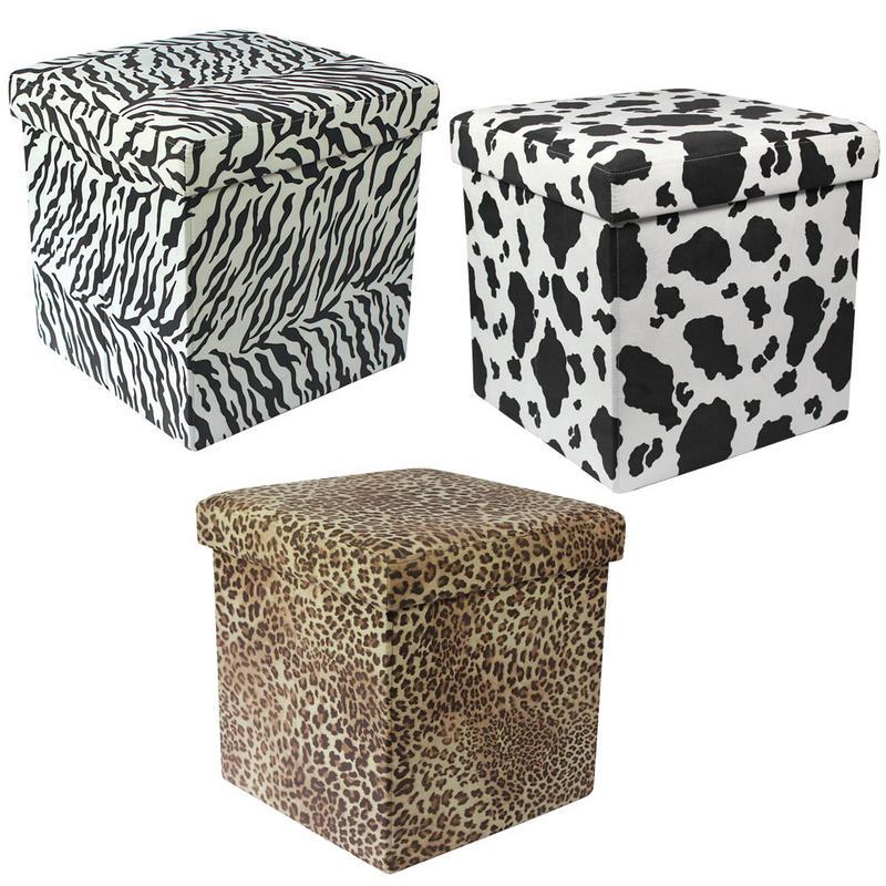 Animal Print Folding Storage Pouffe Stool Seat Ottoman Box