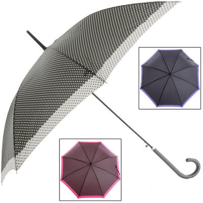 Ladies Black Walking Umbrella With Border & Spots