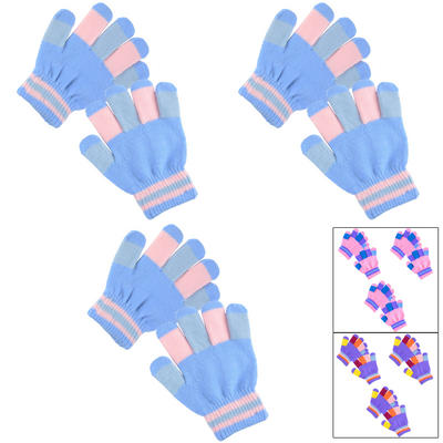 3 Pairs Of Children's Magic Stretch Gloves With Multi Coloured Fingers