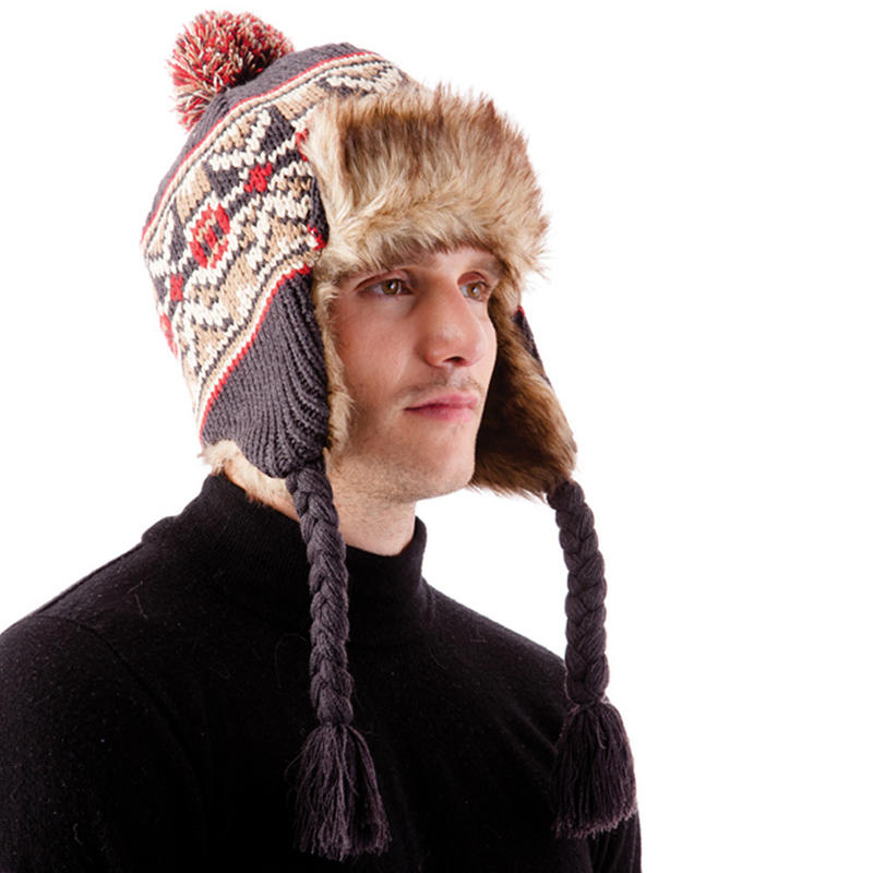 Knitting Pattern Peruvian Hat : Mens Chunky Knitted Peruvian Hat With Faux Fur & Fleece ...