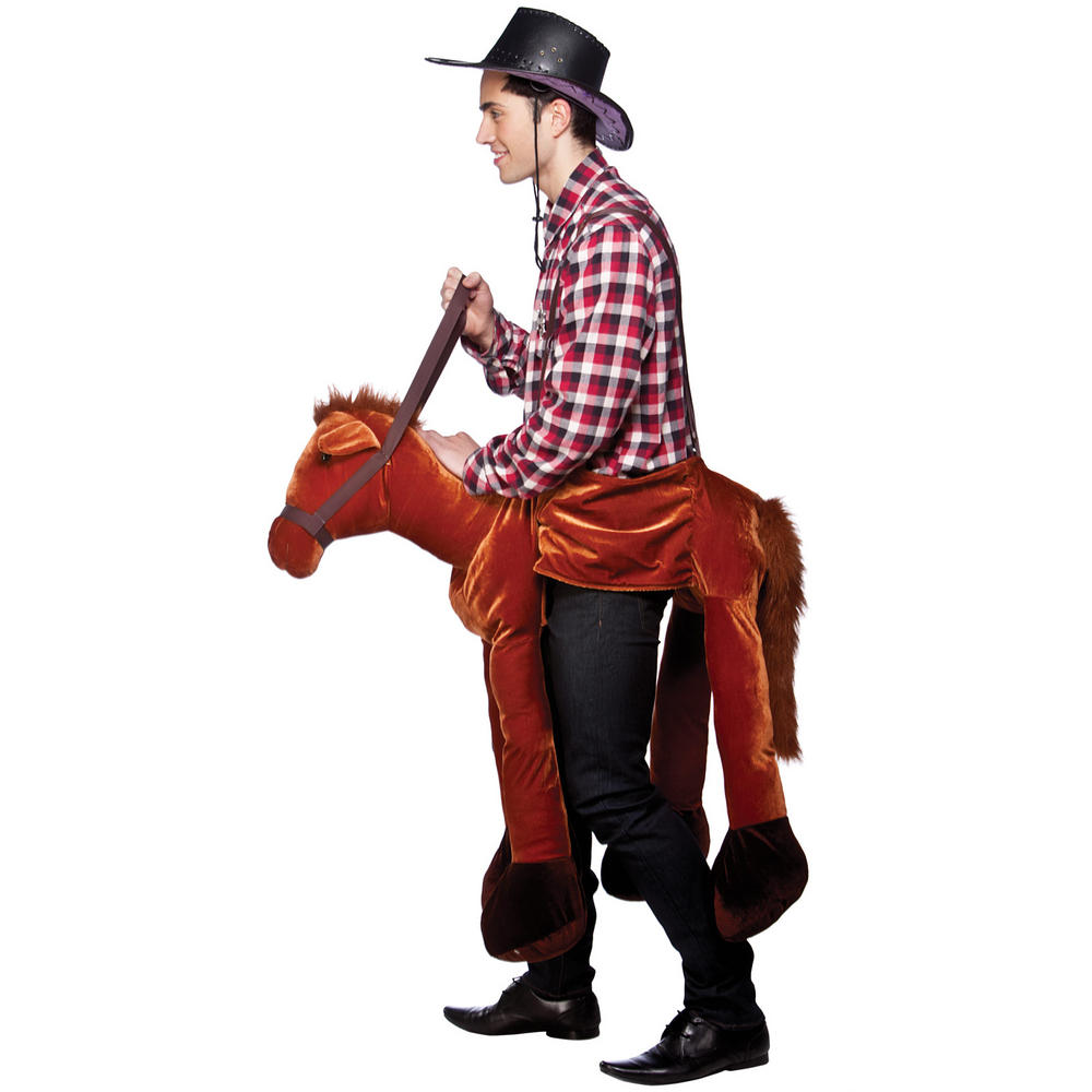 Funny Ride On Horse Cowboy Wild West Jockey Fancy Dress Party Costume