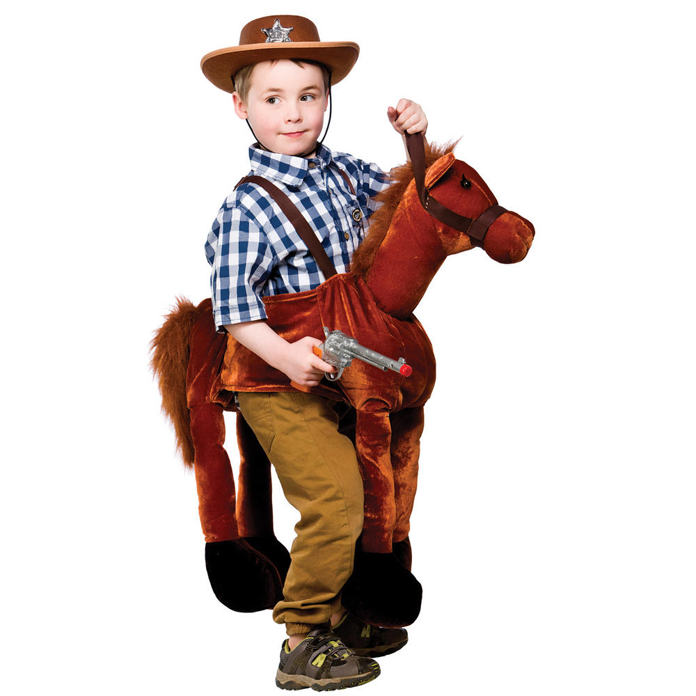 Childrens Brown Ride On Horse Fancy Dress Halloween Party Costume ...