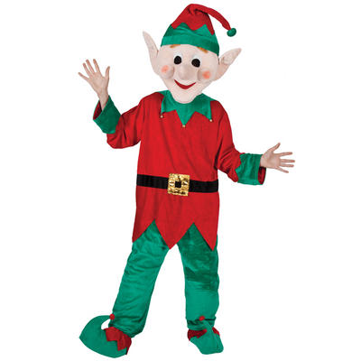 Santa's Helper Elf Full Body Mascot Charity and Fancy Dress Costume