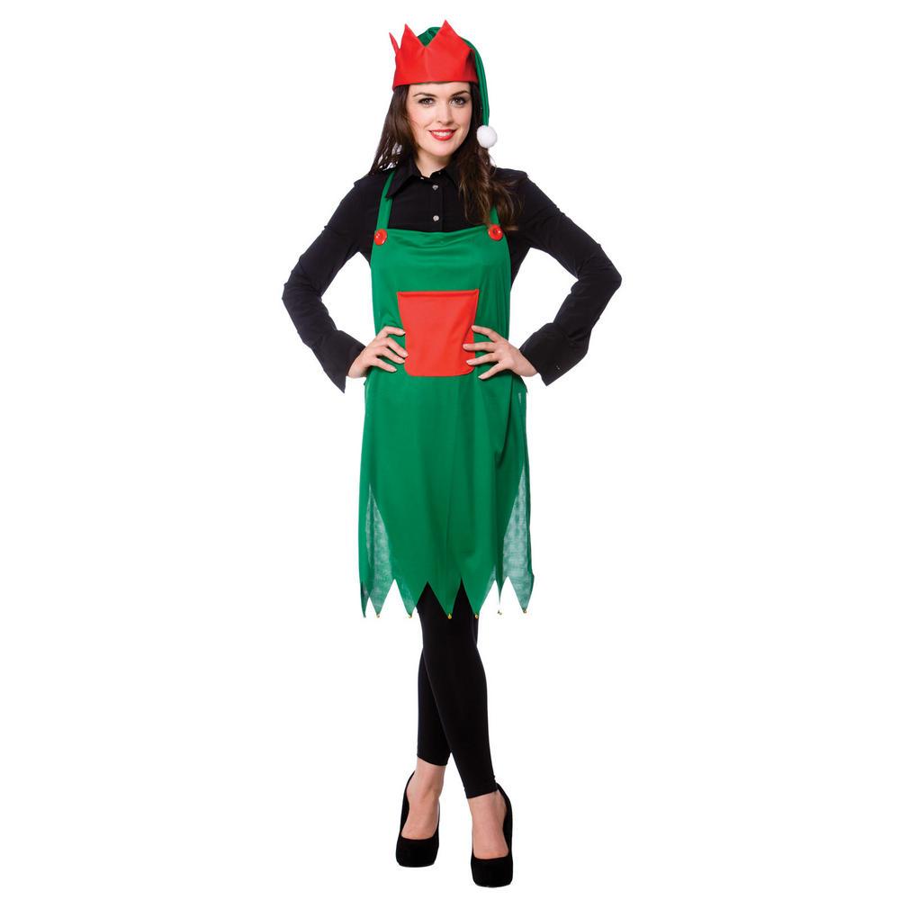 Christmas dress up - Elf Apron Hat Set Fancy Dress Christmas Dress Up Festive Xmas Costume New