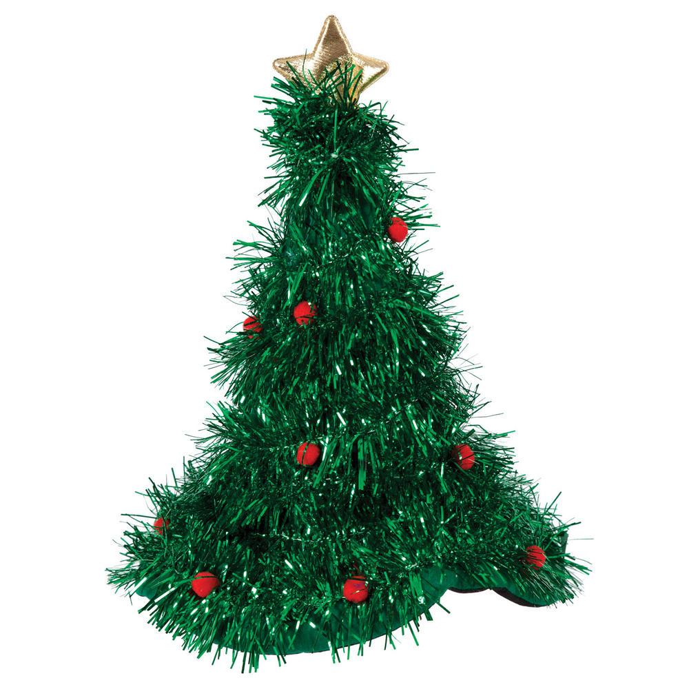 Christmas tree hat with tinsel fancy dress santa