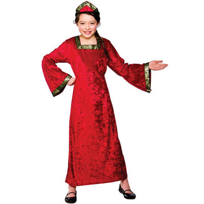 Girls Red Medieval Princess Fancy Dress Halloween Costume
