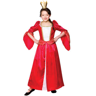 Girls Red Royal Medieval Queen Fancy Dress Costume
