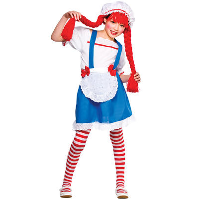Girls Little Rag Doll Fancy Dress Halloween Costume
