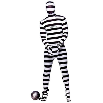 Convict Robber Skinz Skin Tight Body Suit Sock Fancy Dress Costume