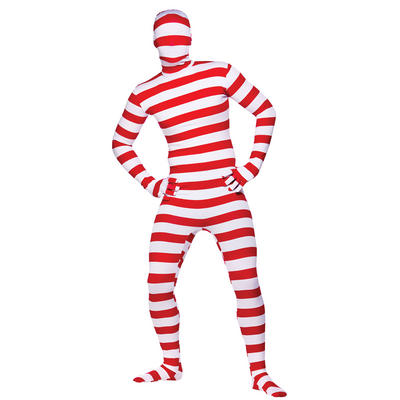 Red And White Striped Lycra Spandex Complete Body Suit